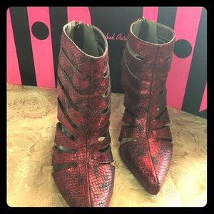 Sexy Red Snake Ankle Boots